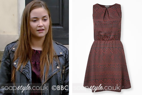 Lauren Branning wearing a burgundy print dress in EastEnders