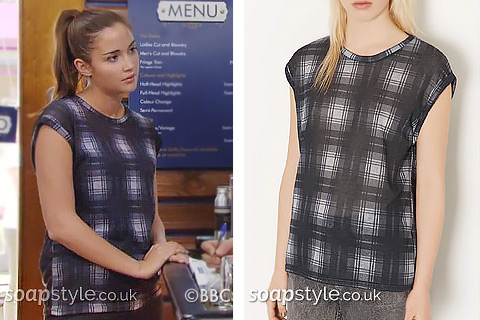 Lauren Branning wearing a grey check tee in the BBC Soap EastEnders