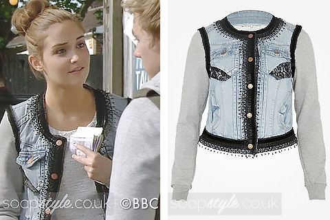 Lauren Branning wearing a jersey denim jacket on TV in EastEnders