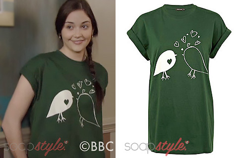 The green love bird print t-shirt Lauren Branning wears on TV in EastEnders