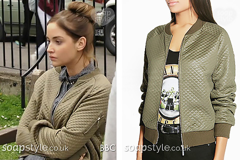 The quilted bomber jacket Lauren in EastEnders wore
