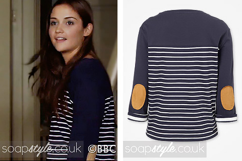 A navy and white Breton top with elbow patches as seen on Lauren Branning