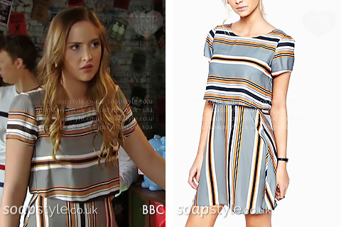 Lauren Branning wearing a striped 2-in-1 dress in EastEnders