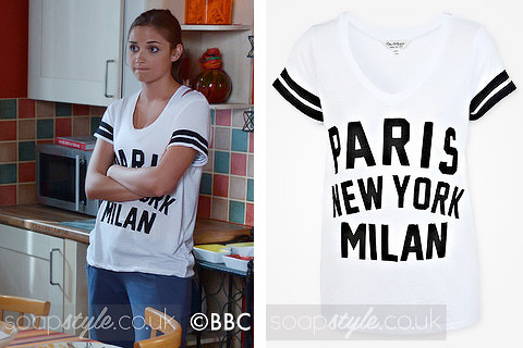Lauren Branning wearing a college style 'Paris NY Milan' tee in EastEnders