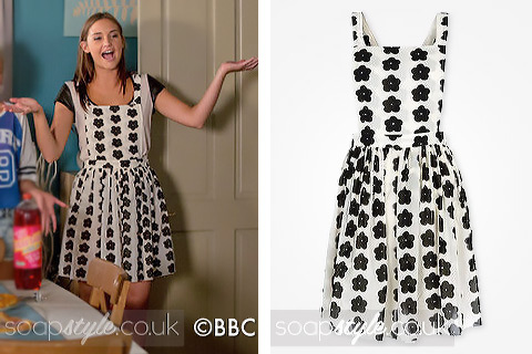 Lauren Branning wearing a flower print pinafore dress in EastEnders