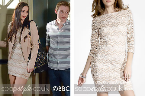Lauren Branning wearing a blush pink lace dress in EastEnders