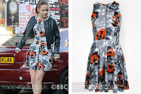 Lauren Branning wearing a poppy print zip-up dress in EastEnders