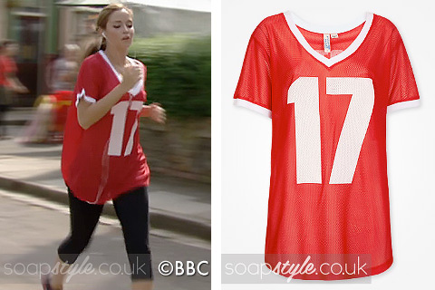 Lauren Branning running in EastEnders, wearing a red sports top