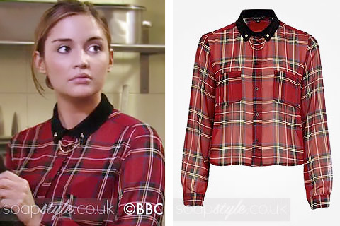 The red tartan shirt with collar tips worn by Lauren in EastEnders