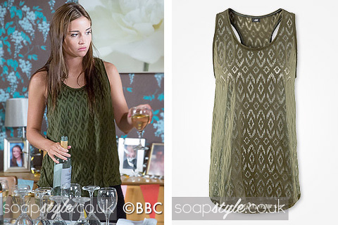 The khaki sleeveless top worn by Lauren in EastEnders