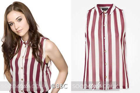 The sheer sleeveless stripe top as seen in EastEnders worn by Lauren Branning