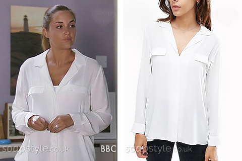 A smart white work-wear blouse with pockets as worn by Lauren in EastEnders