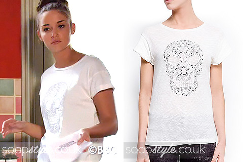 Lauren wearing a white t-shirt with studded skull motif in EastEnders