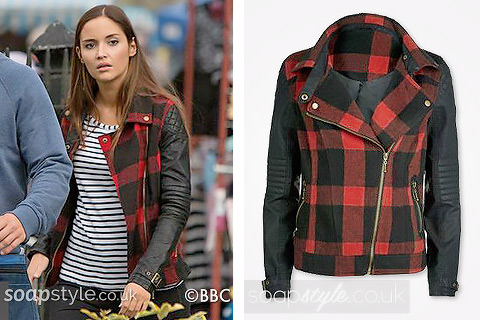 The red and black tartan biker jacket with faux leather sleeves worn by Lauren Branning