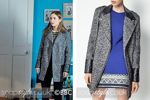 The tweed biker coat worn by Lauren Branning (Jacqueline Jossa) in EastEnders