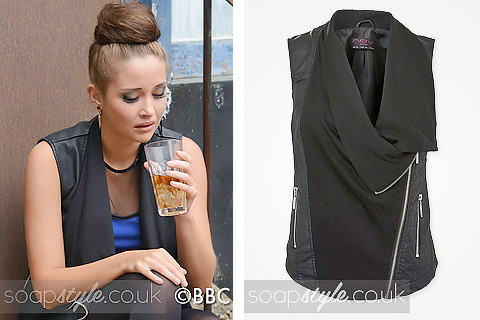 Lauren Branning dressed-up wearing a waterfall gilet in EastEnders