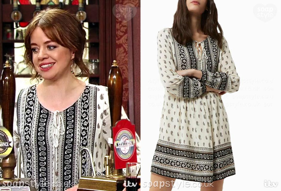 Toyah wearing her paisley boho top dress in Coronation Street