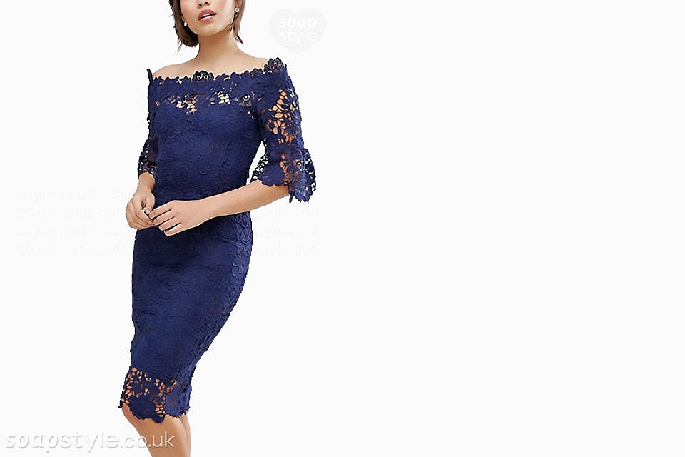 The navy blue lace bardot dress worn by Sonia (Natalie Cassidy) in EastEnders