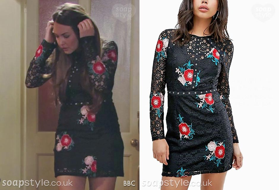 The black lace crochet dress worn by Stacey in EastEnders
