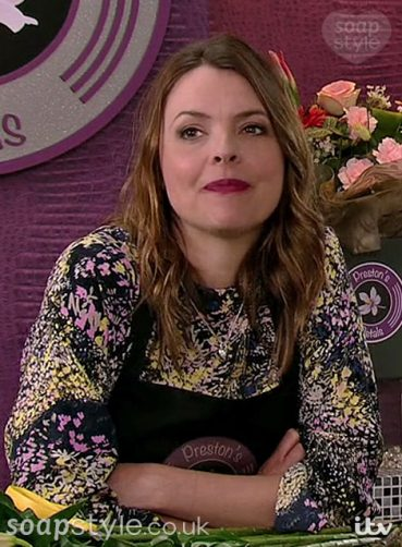 Tracy Barlow's Purple & Yellow Floral Top